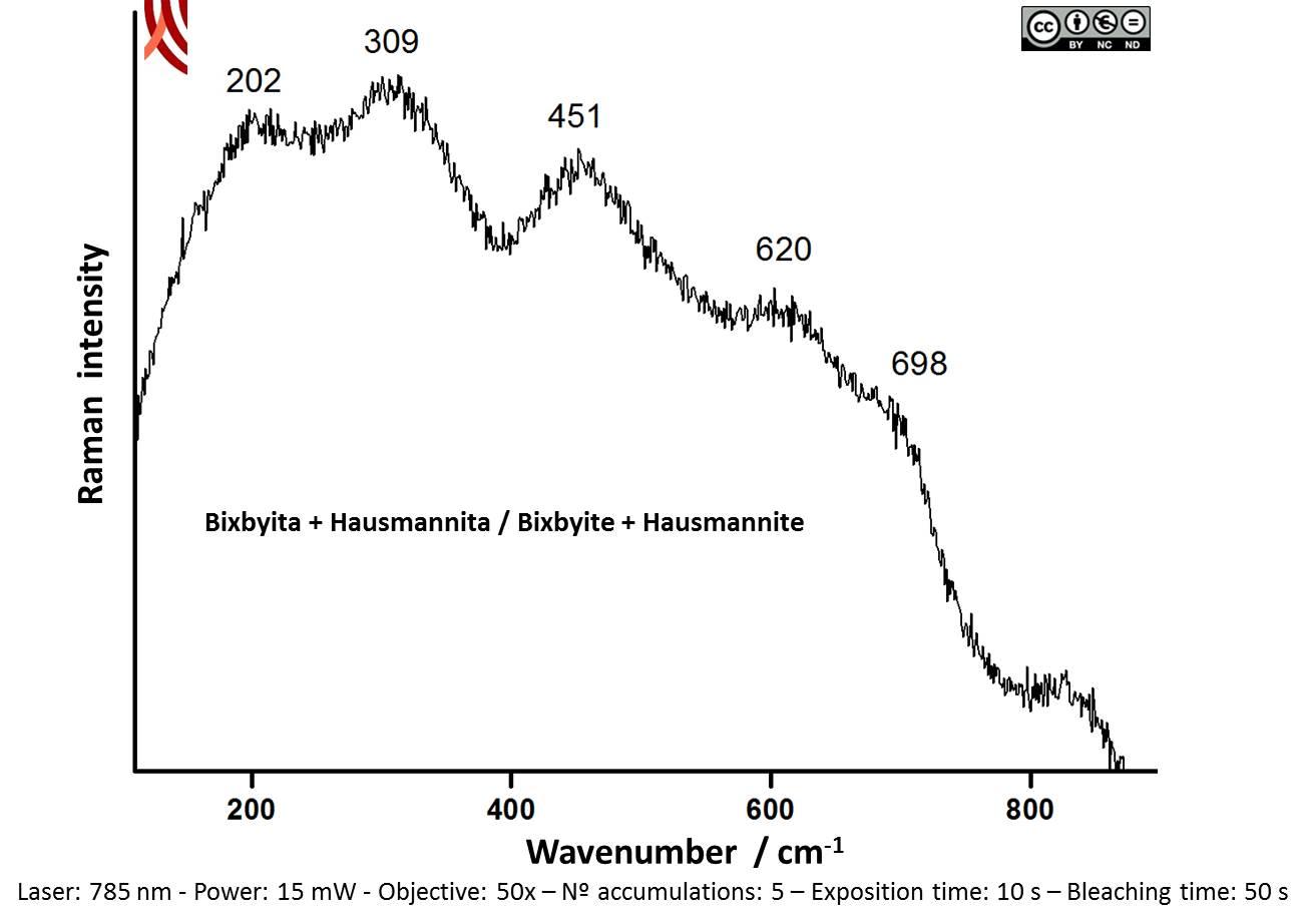 Raman spectrum B f the black decoration. Vessel 2086-1